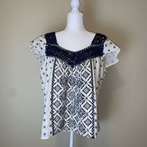 Anthropologie Maeve embroidered peasant top #3018